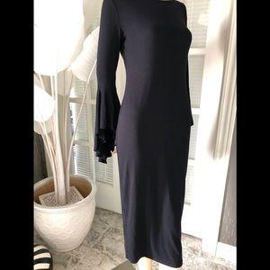 Black bell sleeve knee length straight dress NWOT